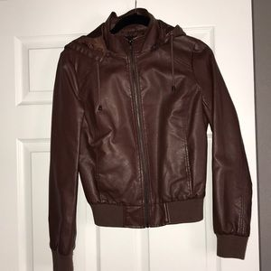 Forever 21 never worn brown faux leather bomber