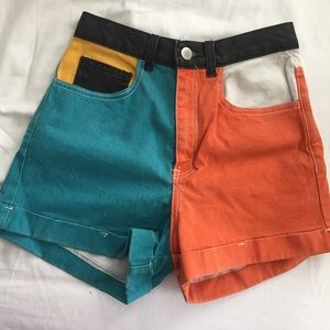 American Apparel High Waist Color Block Shorts