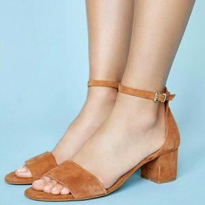 NEW free people marigold block heels - tan