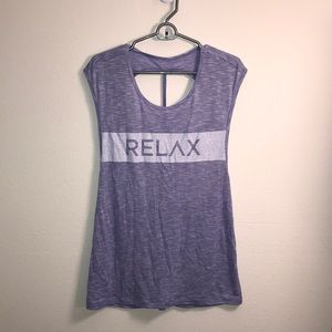 "NWOT ""Relax"" Strappy Open Back Yoga Tank"