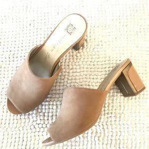 Anne Klein leather camel block heel open toe mules