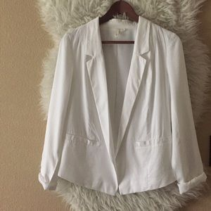 Frenchi White Lined Lightweight Blazer