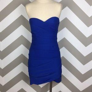 BCBG Maxazria Blue Madge Strapless Corset Dress