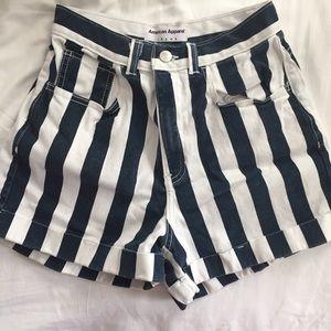 American Apparel High Waisted Stripe Denim Shorts