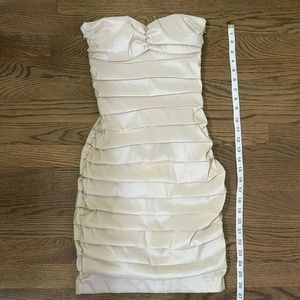 Arden B strapless Dress shimmery champagne color