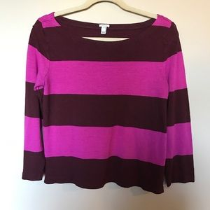 [J.Crew] Pink/Maroon Striped Top Size M