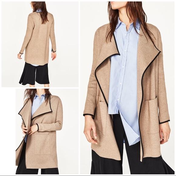 43020866bd Zara Sweaters | Nwot Knit Faux Leather Trim Open Sweater Coat | Poshmark