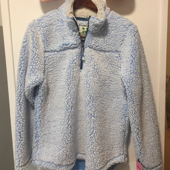 Frosted Sherpa Fleece Pullover Jacket Sweater Coat NWT