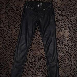 Black H&M Pleather skinny pants size 10