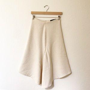 Zara Woman Cream Asymmetrical Midi Skirt