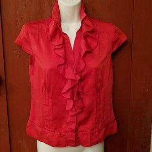 Talbots red silk top