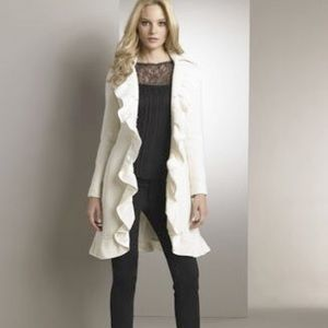 Nanette Lepore Cream Ruffled Wool Coat