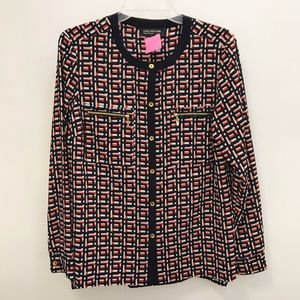 Jones New York Navy and Red Abstract Blouse