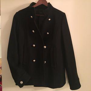 Military style black wool coat, Banana Republic