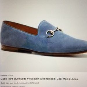 Gucci Light Blue Suede Horsebit Loafers