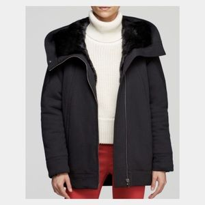 Helmut Lang Black Hooded Winter Jacket Fur Magna