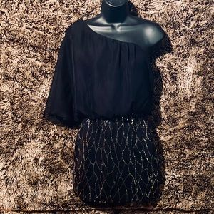 One arm black and gold sequin dress