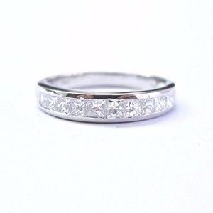 Jewelry - Fine Princess Cut Diamond White Gold Band Ring 14K