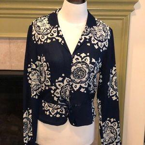 Silk navy and ecru long sleeve top. Size 4.