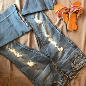 Denim - Ripped 70s Style Flare Jeans