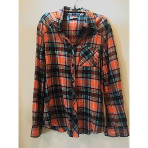 Urban Outfitters BDG Orange and Blue Flannel