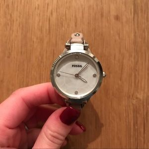 Blush and Silver Leather Fossil Watch