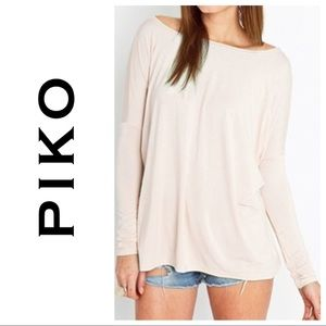 "Piko Top- Long Sleeve- Size S- ""Cream"""