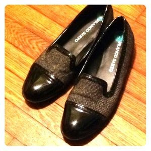 Franco Sarto on trend black patent tip loafers