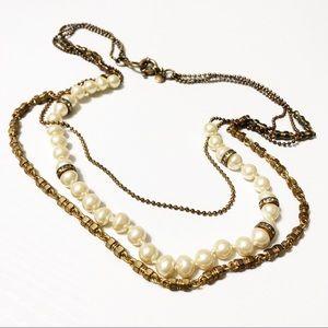 J. Crew Three Strand Pearl & Chain Necklace