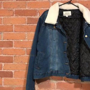 SimplyBe Denim borg trucker jacket coat sz 24