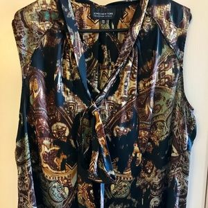 Jones New York tie front silk work blouse