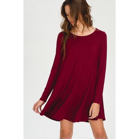 eafdfdc2c0ee Anna Long Sleeve Swing Dress - Burgundy