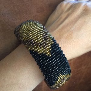 Accessories - Tribal Vibes Beaded Black/Gold/Bronze Bangle