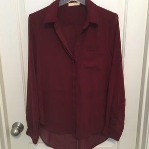 Maroon long sleeve blouse - medium