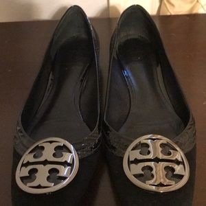Black suede Tory Burch holiday shoe.