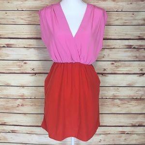 Charlotte Russe Pink Orange Colorblock Dress Small