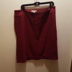 Cranberry wool blend skirt