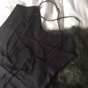 Zara Black Lace-Up Bodysuit
