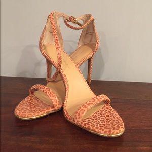 Banana Republic Ankle Strap Leopard Print Heels
