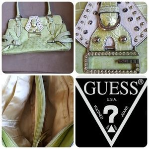Green studded Guess purse with gem buckle