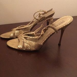Gold Guess Strappy Sandals