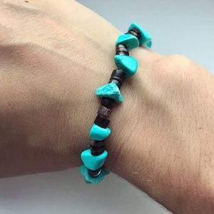 Turquoise & dark brown beaded stone bracelet