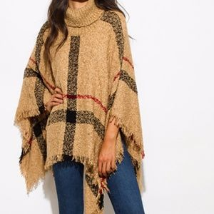 Sweaters - Boho Knit Poncho chunky cowl neck sweater in camel