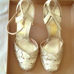 Vintage Ferragamo Gold Leaf heels