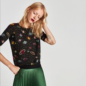 ZARA Short Sleeve Planets Sweater