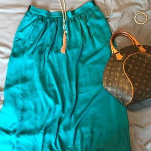 Silky Teal Maxi Skirt WITH POCKETS!!!!!!! YAS!