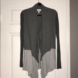 Ann Taylor Loft grey drape front sweater