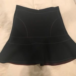 Navy structure fluted skirt