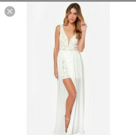 White Lace Bridal Shower Dress