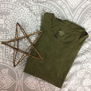 J Crew Vintage Cotton T shirt, Army Green, Small